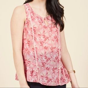 { ModCloth } pink sheer butterfly tank